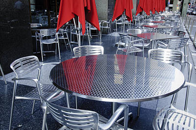 Table Photograph - Aluminun Chairs And Tables by Oscar Gutierrez