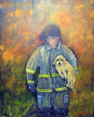 Painting - Always On Call - Fireman by Loretta Luglio