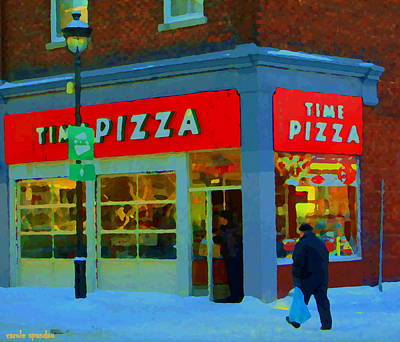 Of Verdun Montreal Winter Street Scenes Montreal Art Carole Painting - Always Pizza Time At Time Pizza Rue Wellington Verdun Montreal Winter Cafe Scene Carole Spandau  by Carole Spandau