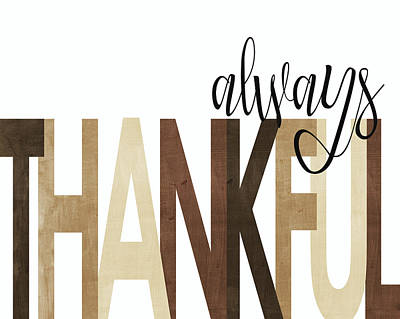 Always Thankful Neutral Art Print by Alli Rogosich