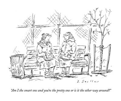 Park Benches Drawing - Am I The Smart One And You're The Pretty One Or by Barbara Smaller