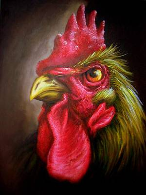 Nigerian Artist Painting - Am Not A Chicken Am A Rooster by Bakare Shariff
