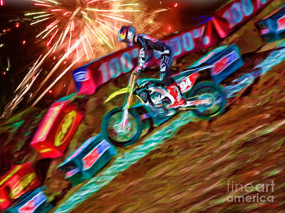 Photograph - Ama 450sx Supercross Ken Roczen Wheelie by Blake Richards