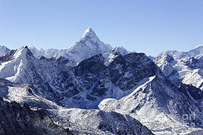 Ama Dablam Mountain Seen From The Summit Of Kala Pathar In The Everest Region Of Nepal Print by Robert Preston