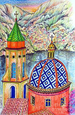 Amalfi And Positano Coast  Art Print by Roberto Gagliardi
