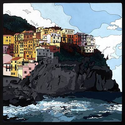 Painting - Manarola W/hidden Pictures by Konni Jensen