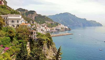 Photograph - Amalfi Panorama With Flowers by Marilyn Dunlap