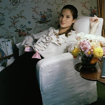 Amanda Burden Sitting In A Chair Art Print