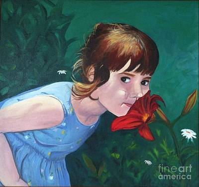 Painting - Amanda Smells The Flower by Vikki Angel
