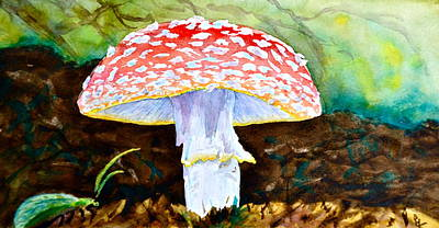 Toadstools Painting - Amanita And Lacewing by Beverley Harper Tinsley