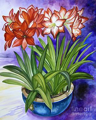 Amaryllis Watercolor Painting - Amaryllis by Anne Shoemaker-Magdaleno