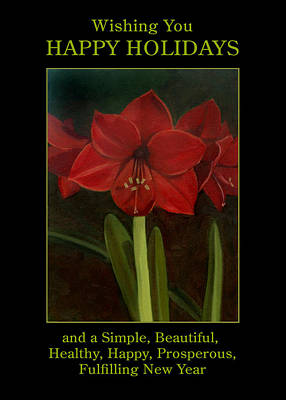 Painting - Amaryllis Flower Holiday Card by Nancy Griswold