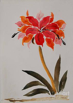Amaryllis Watercolor Painting - amaryllis III by Heidi E  Nelson