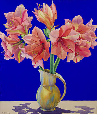 Blue Jug Painting - Amaryllis In A Jug by Christopher Ryland