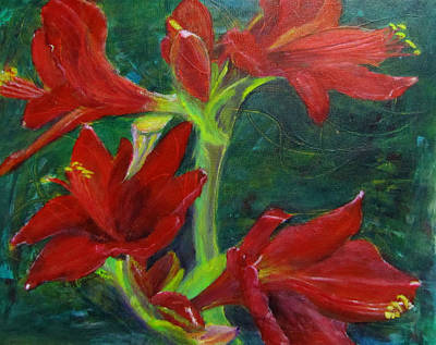 Art Print featuring the painting Amaryllis by Linda Feinberg