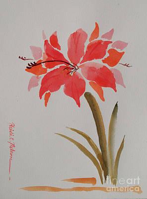 Amaryllis Watercolor Painting - Amaryllis Vii by Heidi E  Nelson