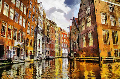 Painting - Amasterdam Houses In The Water by Georgi Dimitrov