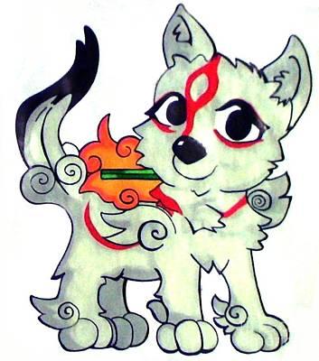 Amaterasu Okami Wolf Pup Original by Jin Kai