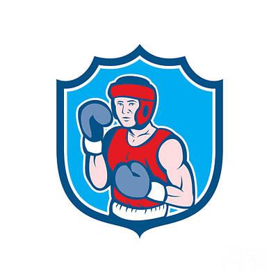 Sportsman Digital Art - Amateur Boxer Stance Shield Cartoon by Aloysius Patrimonio