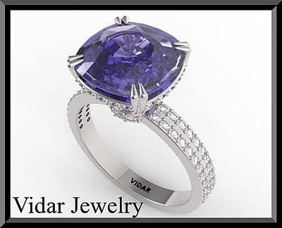 14k Jewelry - Amazing Blue Sapphire And Diamond 14k White Gold Engagement Ring by Roi Avidar