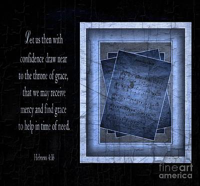 Amazing Grace In Blue With Scripture Art Print