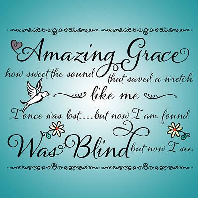 Amazing Grace Word Art Art Print by Purple Moon