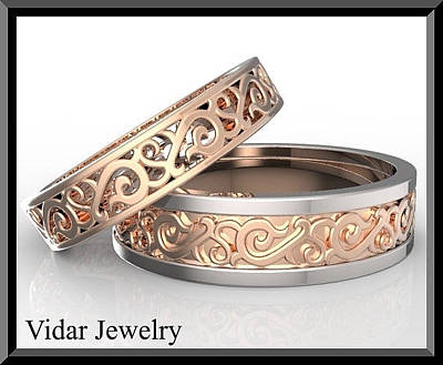 14k Jewelry - Amazing His And Hers Two Tone Wedding Bands Set by Roi Avidar