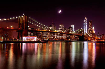 Print featuring the photograph Amazing New York Skyline And Brooklyn Bridge With Moon Rising by Mitchell R Grosky