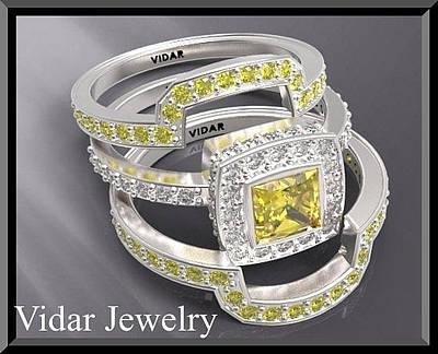 14k Jewelry - Amazing Yellow Sapphire And Diamond 14k White Gold Wedding Ring Set by Roi Avidar