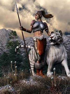 Digital Art - Amazon And White Tiger by Kaylee Mason