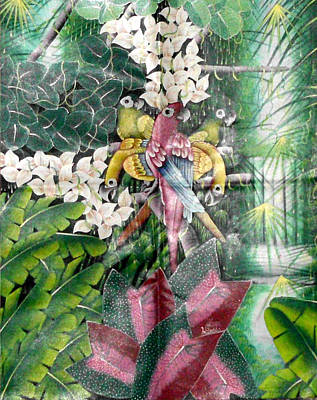 Haitian Painting - Amazonian Forest by W Denilus