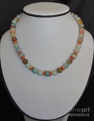 Jewelry - Amazonite And Copper Necklace by Megan Cohen