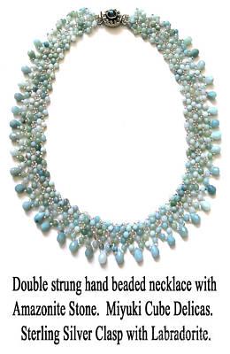 Delica Beads Jewelry - Amazonite Stone Beaded Necklace by Jennie Breeze