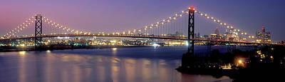 Ambassador Photograph - Ambassador Bridge At Dusk, Detroit by Panoramic Images