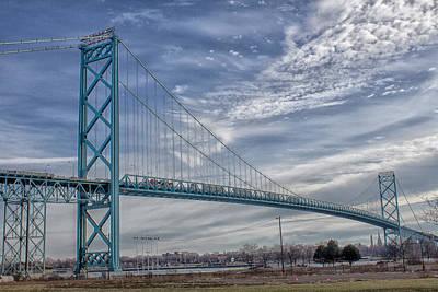 Art Print featuring the photograph Ambassador Bridge From Detroit Mi To Windsor Canada by Peter Ciro
