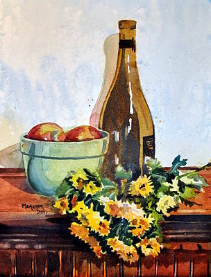 Mums Painting - Amber Bottle Still Life by Spencer Meagher