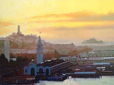Alcatraz Painting - Amber Glow by Gina Tecson