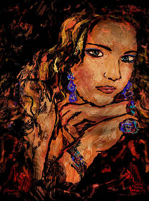 Gold Earrings Mixed Media - Amber by Natalie Holland