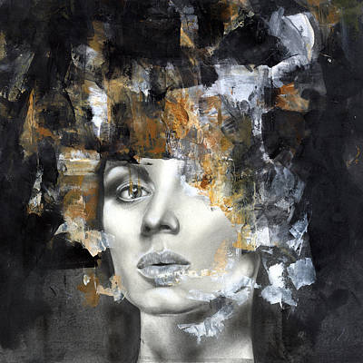 Abstract Portrait Painting - Amber by Patricia Ariel