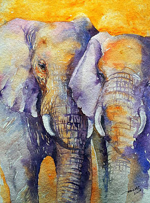 Yellow Elephant Painting - Amber Skies by Arti Chauhan