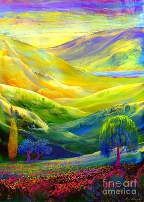Willow Trees Painting -  Wildflower Meadows, Amber Skies by Jane Small
