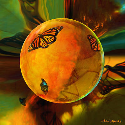 Round Digital Art - Ambered Butterfly Orb by Robin Moline