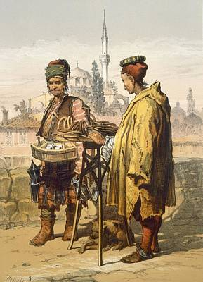Turkish Drawing - Ambulant Snack Sellers, 1865 by Amadeo Preziosi