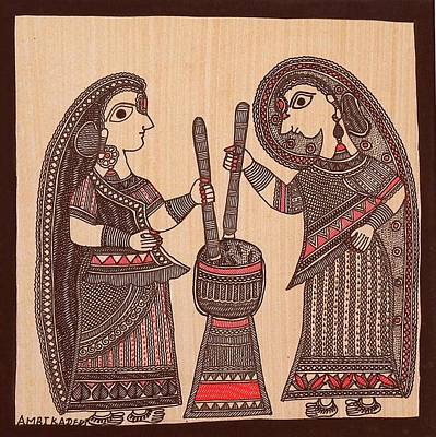 Indian Tribal Art Painting - Amd 05 by Ambika Devi