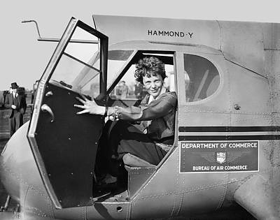 Cockpit Photograph - Amelia Earhart - 1936 by Daniel Hagerman