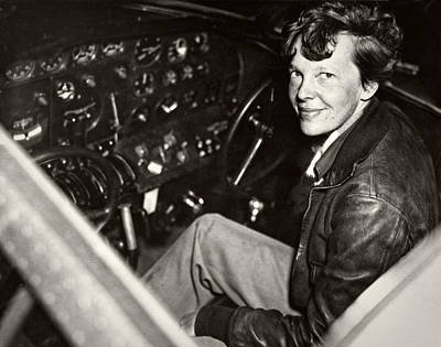 Cockpit Photograph - Amelia Earhart - Aviation Pioneer - 1937 by Daniel Hagerman