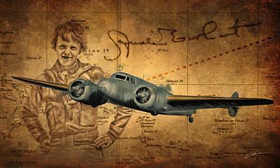 Amelia Digital Art - Amelia Earhart by Dale Jackson