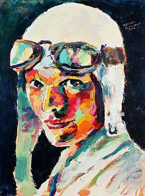 Derek Russell Wall Art - Painting - Amelia Earhart by Derek Russell