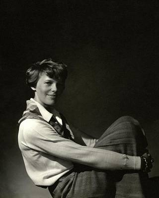 Blouse Photograph - Amelia Earhart Hugging Her Knees by Edward Steichen