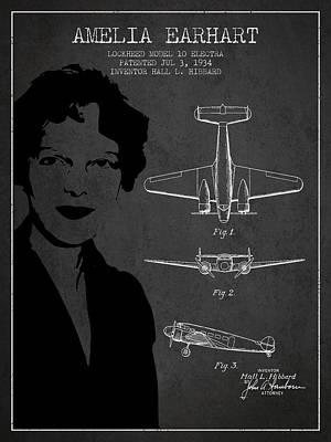 Amelia Digital Art - Amelia Earhart Lockheed Airplane Patent From 1934 - Dark by Aged Pixel